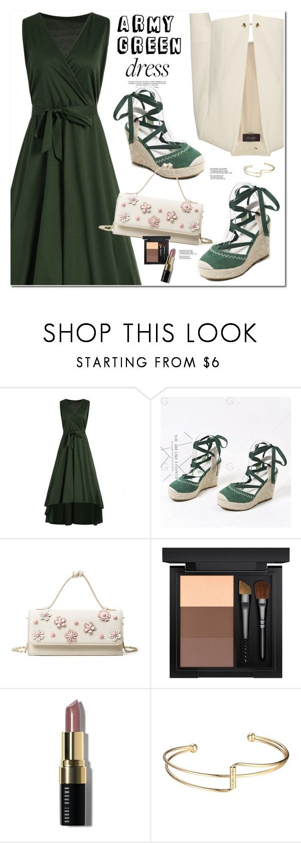 """Army green Dress"" by oshint ❤ liked on Polyvore featuring MAC Cosmetics, Bobbi Brown Cosmetics, awesome, pretty, beautiful, dress and gamiss"