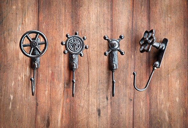 Cast Iron Faucet Hooks, Set of 4 - From Antiquefarmhouse.com - http://www.antiquefarmhouse.com/current-sale-events/industrial-decor/cast-iron-faucet-hooks-set-of-4.html