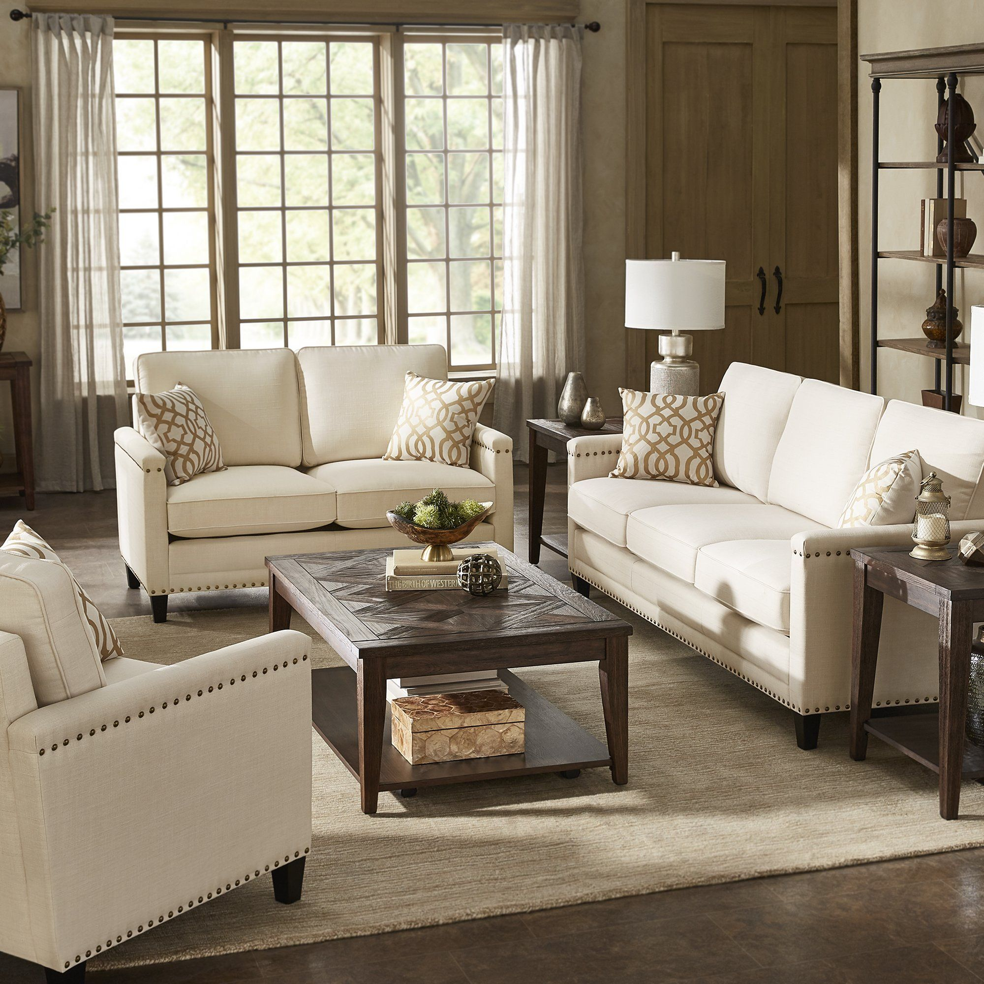Stupendous Stoddard Ivory Fabric Seating With Nailhead Trim By Inspire Machost Co Dining Chair Design Ideas Machostcouk