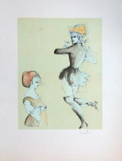 Léonor FINI (1908-1996) Études de danseurs ou danseuses - Silhouettes. Dim