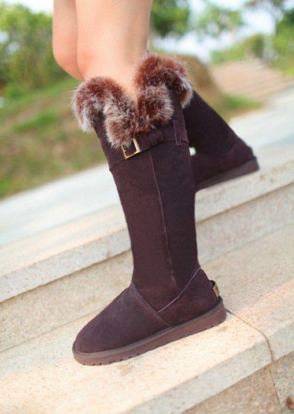 2013 Ugg knee high fox fur boots 02b0fc0be