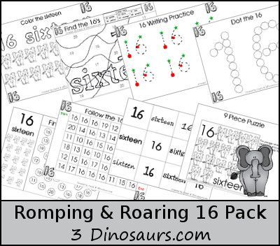 Free Romping & Roaring Number 16 - - coloring pages, playdough mats, counting, tracing and more 39 pages great for ages 3 to 6 or 7 - It has a zoo theme - 3Dinosaurs.com