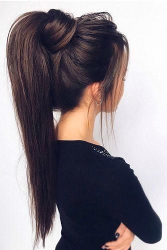 37 Modern Pony Tail Hairstyles Ideas For Wedding Wedding Forward Tail Hairstyle Cute Ponytail Hairstyles Long Dark Hair