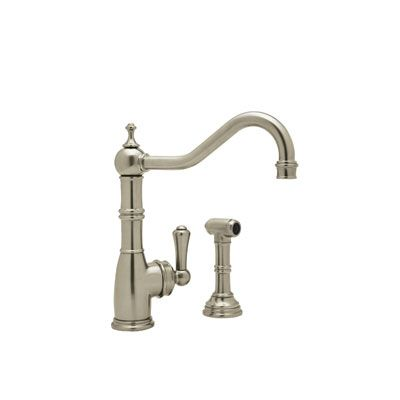 rohl kitchen faucet aid cooktop perrin and rowe u 4746 2 single lever hole with side spray satin nickel