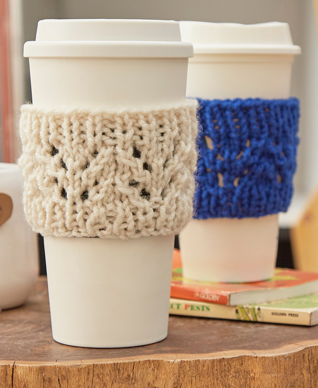 Free Knitting Pattern For Lacy Cup Cozy Easy Lace Sleeves Designed