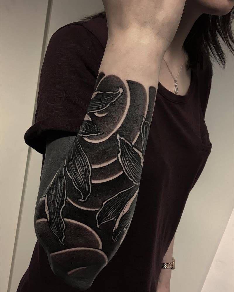 Blackwork Sleeve Tattoo By Gakkin Done At Gxinx Amsterdam Solid Black Tattoo Black Sleeve Tattoo Black Tattoos