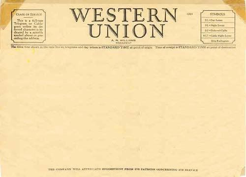 western union telegram templates wanted Ephemera Pinterest - blank menu template