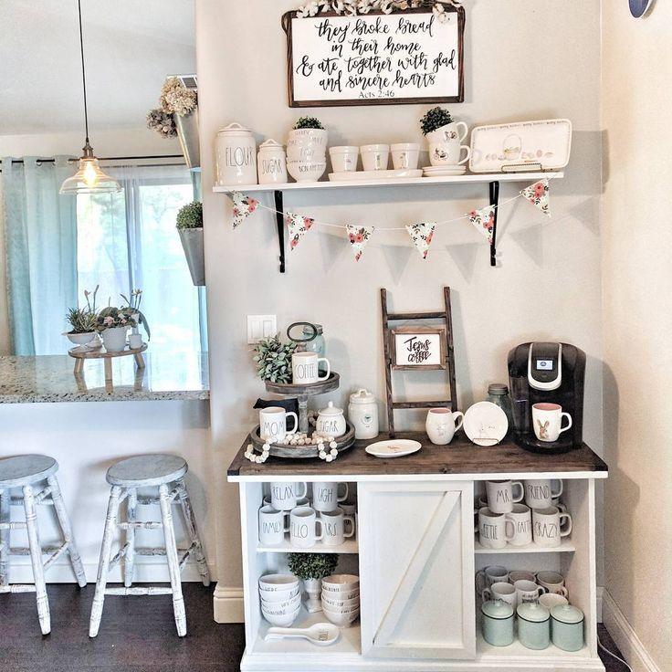 farmhouse coffee station | Coffee bar home, Diy coffee bar ...