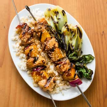 Teriyaki Chicken Kebabs With Grilled Bok Choy Cook S