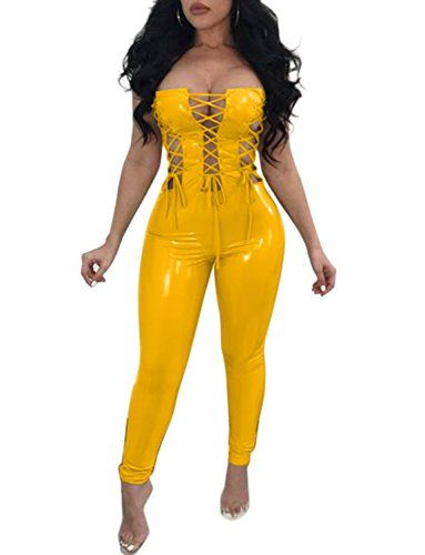 53acdc2583f7 VWIWV Women Sexy Strapless Criss Cross Bandage PU Faux Leather Bodysuit  Jumpsuit Romper