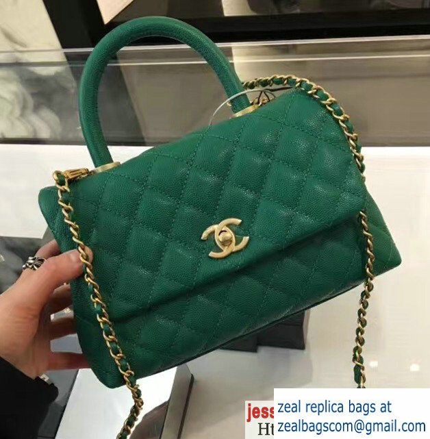 491c67d69058 Chanel Flap Bag With Top Handle Green. Chanel Grained Calfskin ...