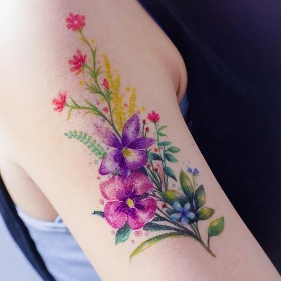 Lazy Duo Watercolor Botanical Temporary Tattoo Sticker Tatuaje De