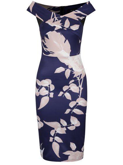 Tmavomodré šaty s potlačou ruží AX Paris