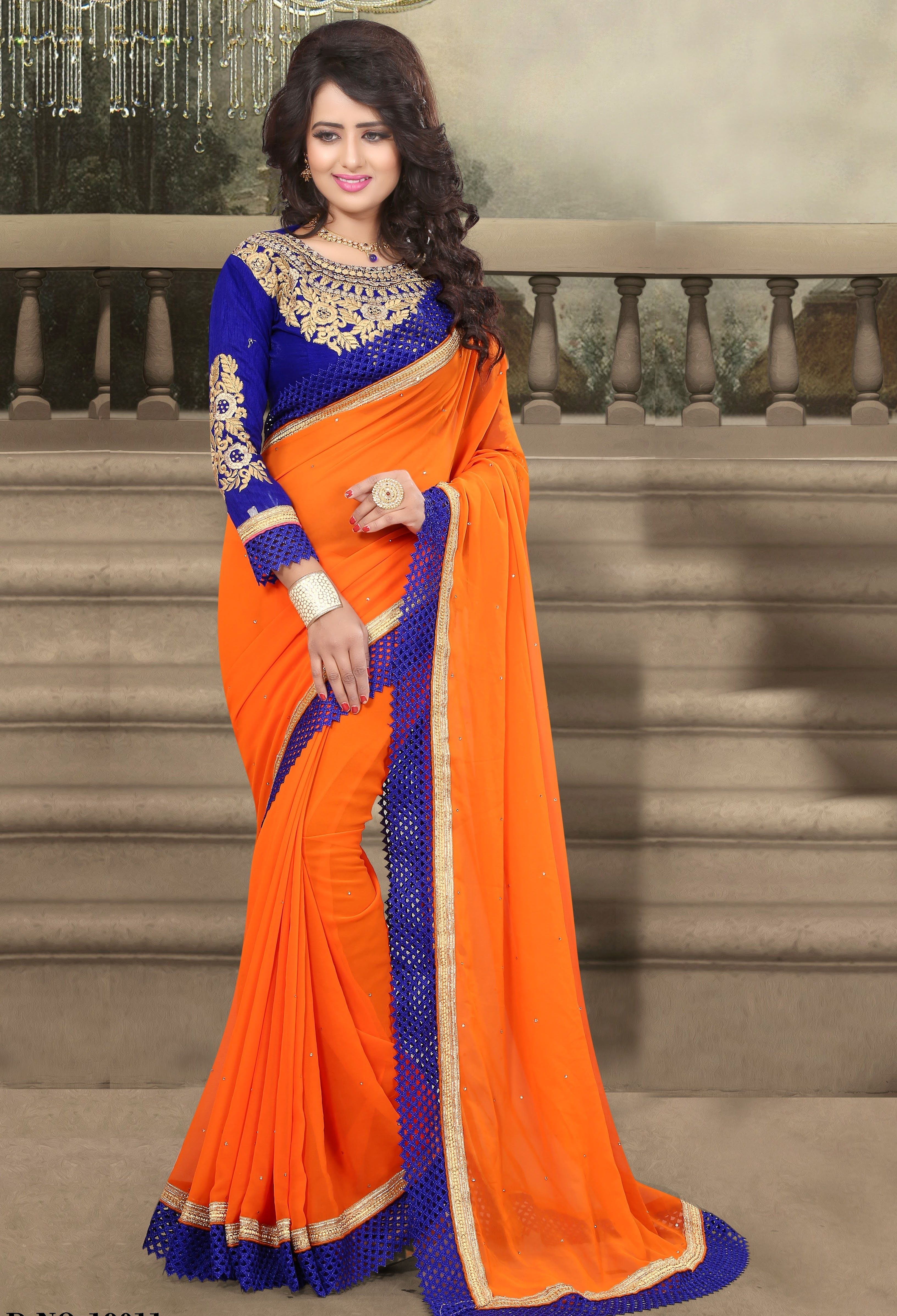0b6a5ec77fe4d2 New Design Of Orange and Blue Combination Saree only on www.trendyug.in.