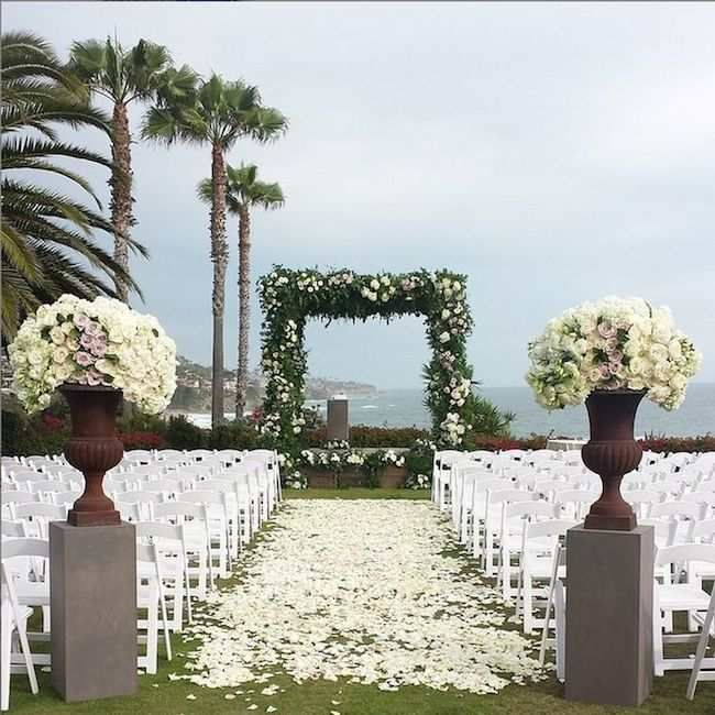 Rose Petal Aisle This Outdoor Wedding
