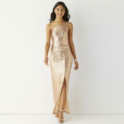 Be Smart Sleeveless One-Shoulder Full Sequin Long Slim Prom Dress ...