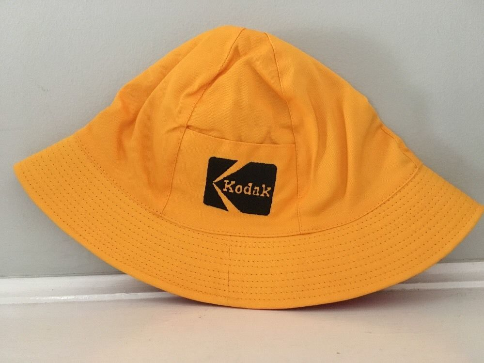 0b9b0be890b6f Vintage Kodak Bucket Hat Reversible Red Yellow Medium Large Pocket NOS   Kodak  Bucket