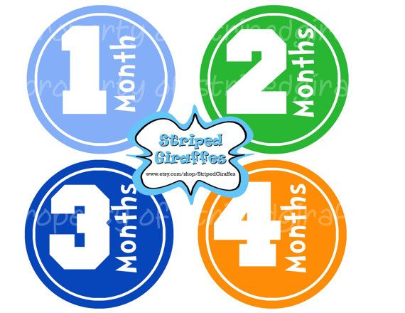 Monthly Onesie Stickers- Baby Boy Milestone Sticker- Digital Printable 12 Boy Colors Month- Baby Month Stickers