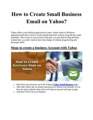 Create small business email on yahoo business emails accmission Gallery