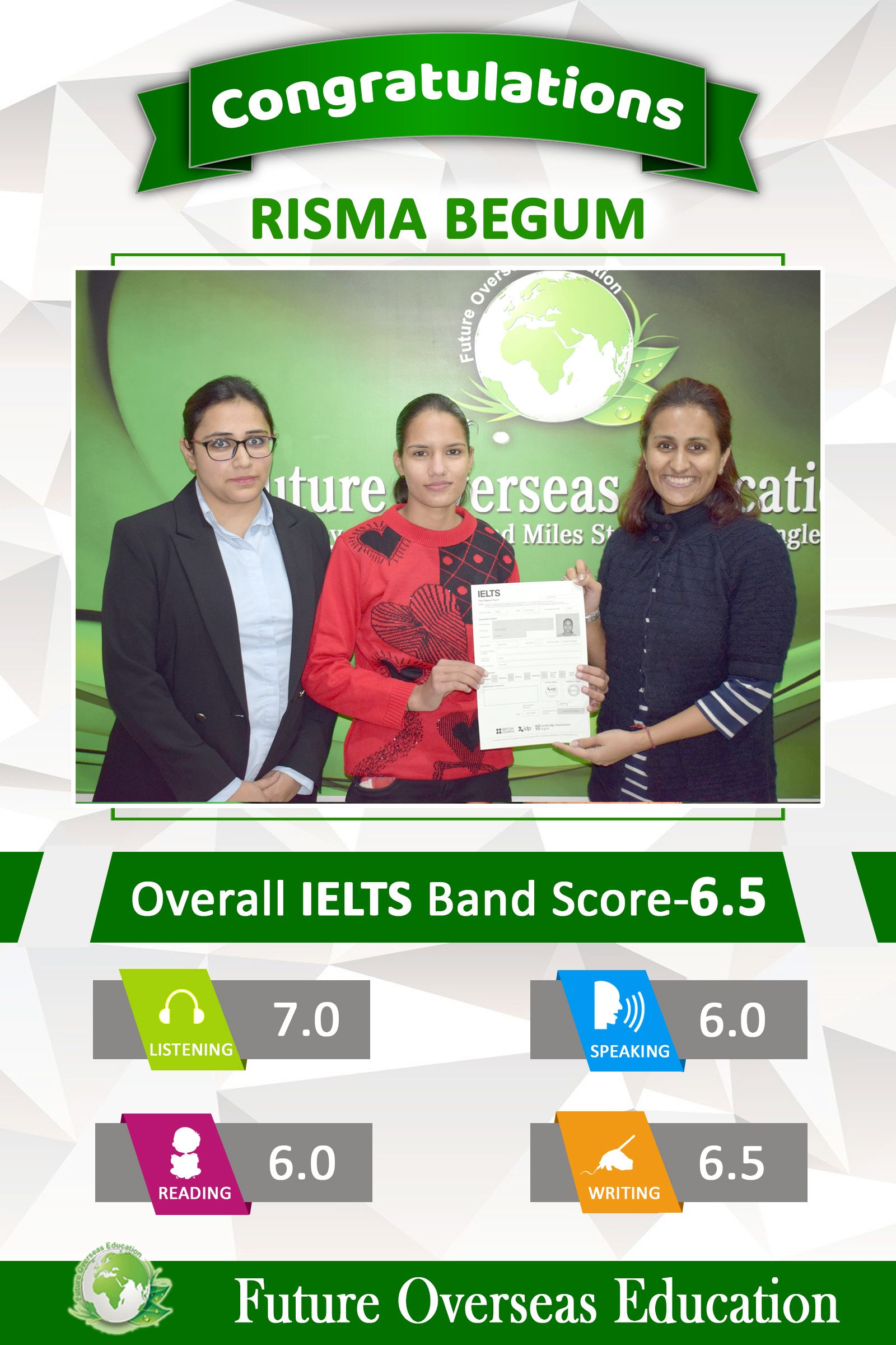 Congratulations Risma Begum For Securing A Score Of 6 5