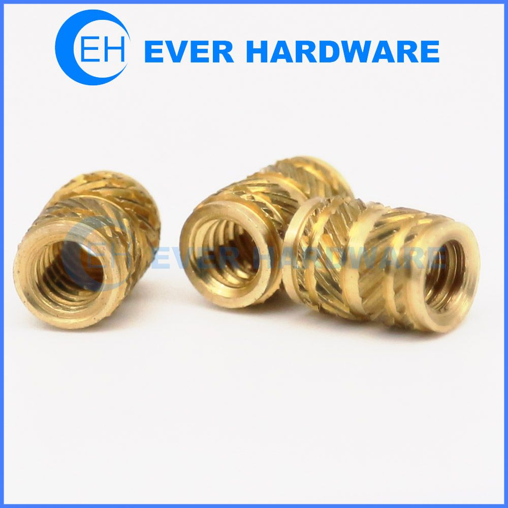Brass Threaded Insert Nuts M4 M5 Double Knurled Insert Nuts Full Threaded Thread Brass Place Card Holders