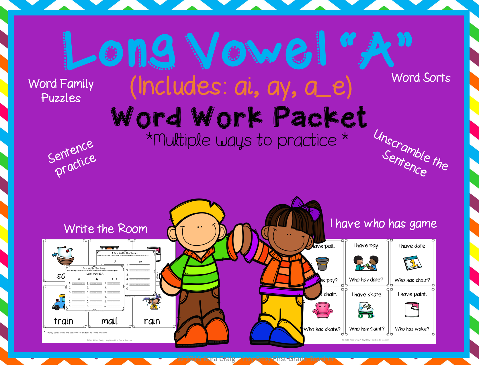 Long Vowel A Word Work Bundle Includes Ai Ay A E