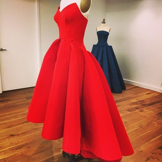 Red satin high low simple prom dress party gown on luulla for Simple elegant wedding dress designers