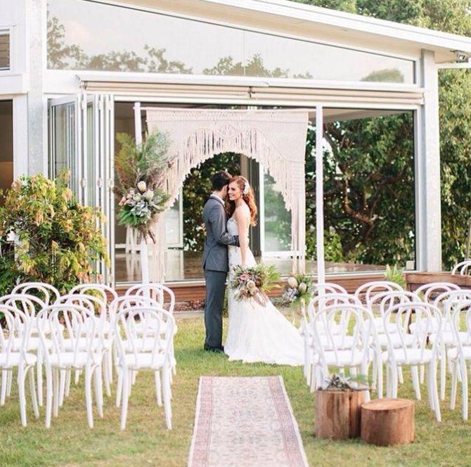 Breathtaking Bohemian Outdoor Wedding Altar: Boho Outdoor Spring/Summer Wedding: Macrame Ceremony