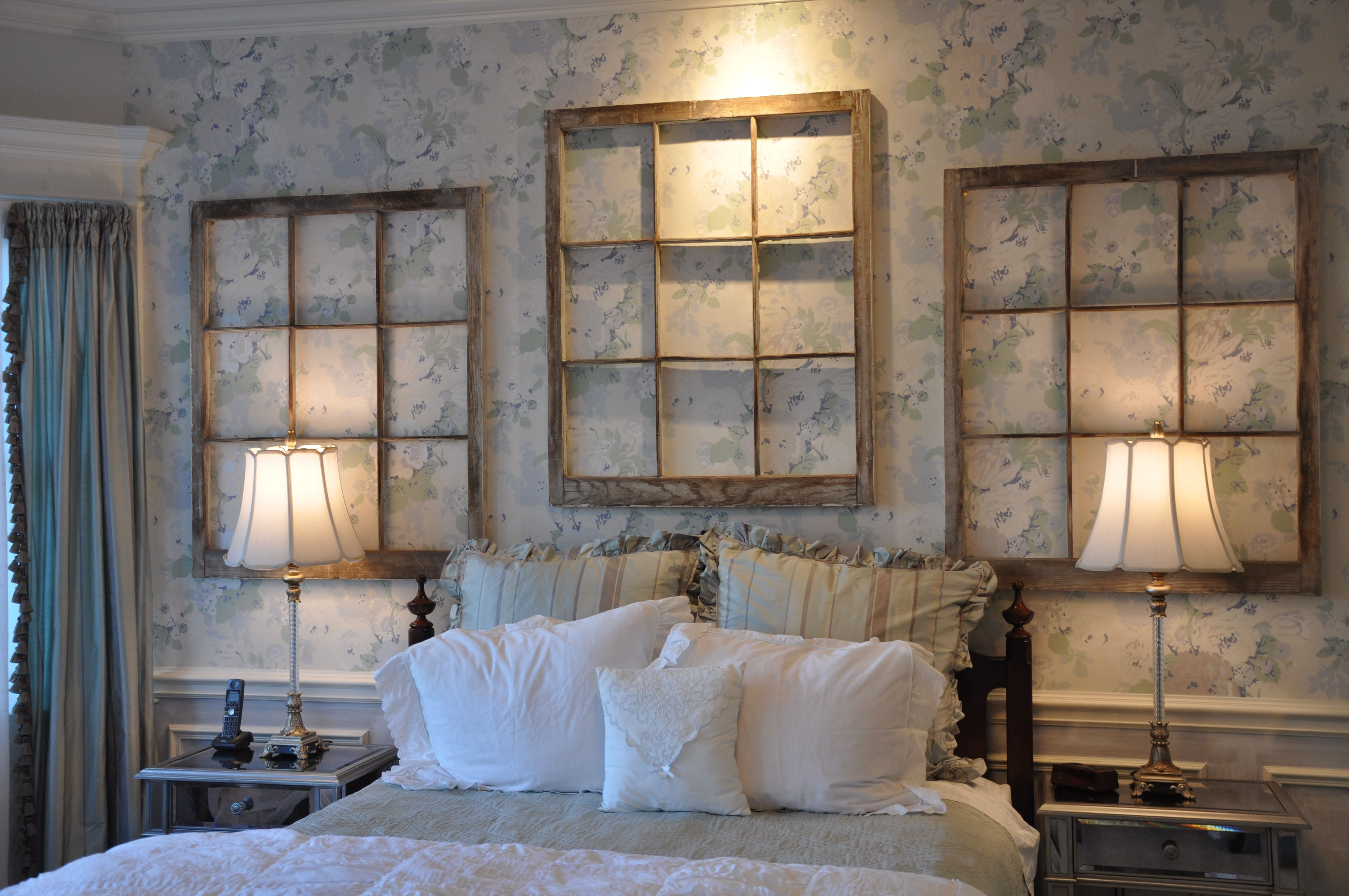 Old window over bed  old windows  wall grouping  industrial wall hanging  pinterest