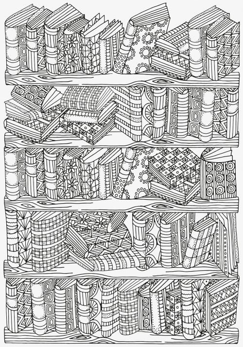 YOUR TIME Do you love a good book You read a lot If you do then enjoy yourself while coloring this amazing vintage Bookshelf Doodle Coloring Page Informations About Books...