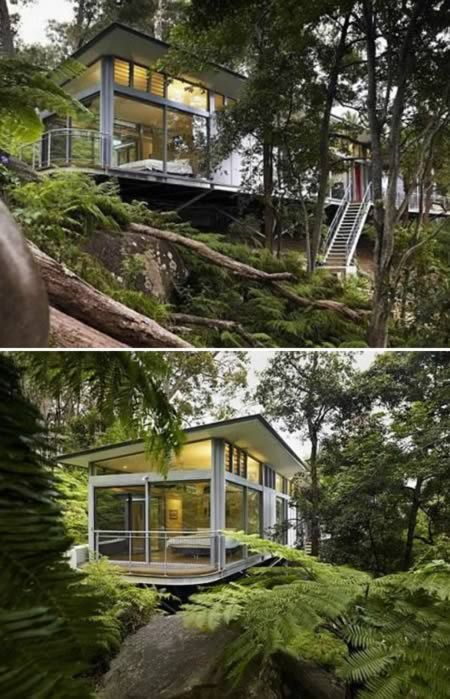 "Located near the ocean in Pittwater, about 30 miles north of Sydney, the Church Point Home was designed by Sydney architectural firm Utz Sanby. The firm describes the home as a tree house that offers ""seclusion and sanctuary"" to its residents. Concrete pillars made to look like trees support the house on its hillside seat, much like limbs act as a tree house's supports."