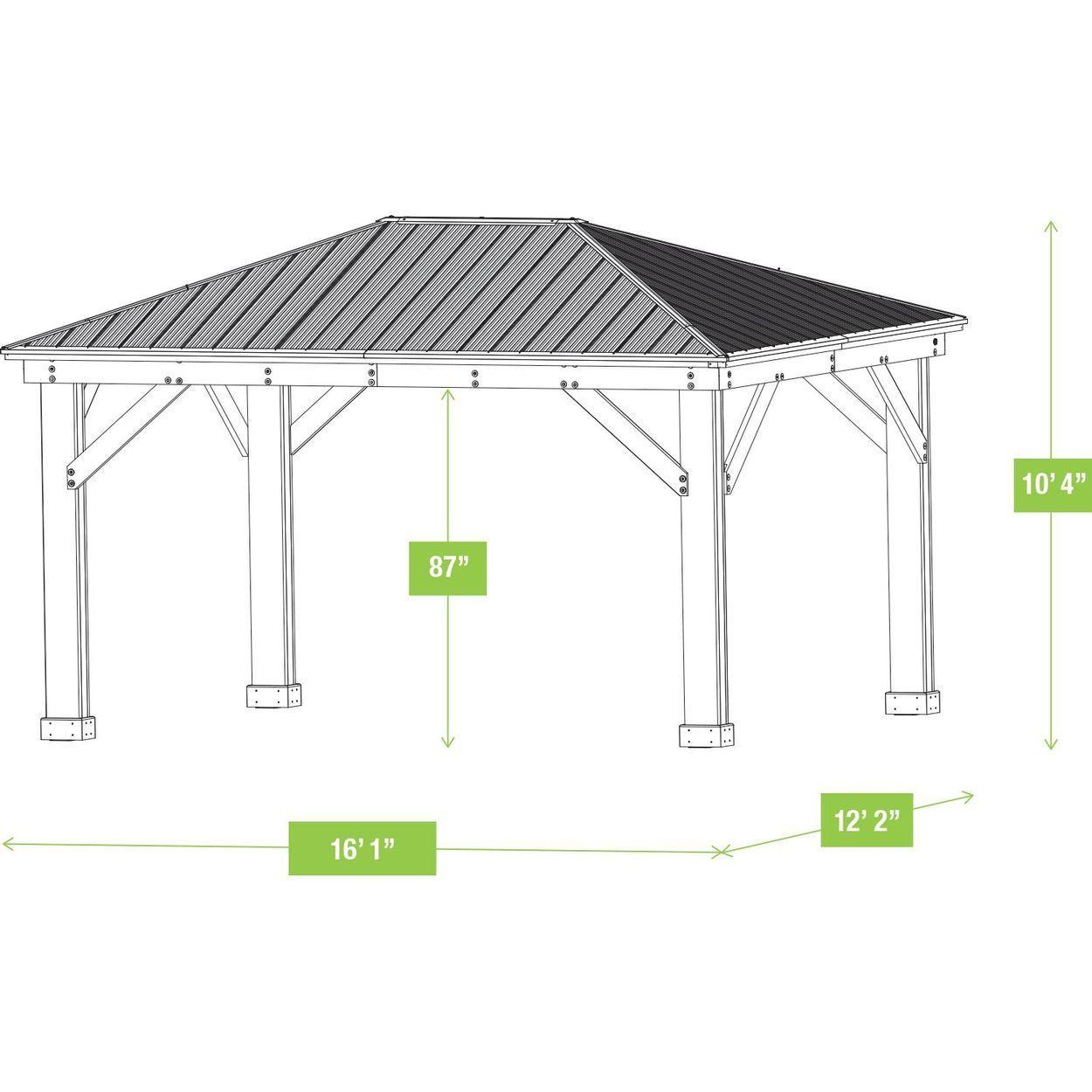 12 X 16 Cedar Gazebo With Aluminum Roof In 2020 Gazebo Gazebo Plans Pergola Shade Diy