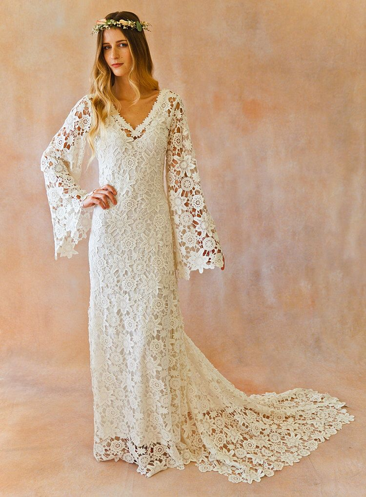 This may be IT! BOHO WEDDING DRESS. Bell Sleeve Simple Crochet Lace Bohemian Wedding Dress with Train.  Vintage Style Crochet Lace Hippie Wedding Gown by Dreamersandlovers on Etsy https://www.etsy.com/listing/175355671/boho-wedding-dress-bell-sleeve-simple