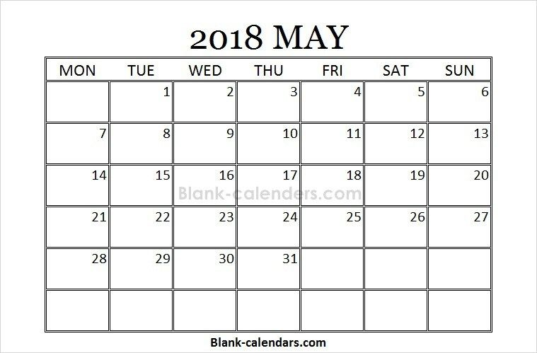Blank Printable May Calendar 2018 October Calendar September