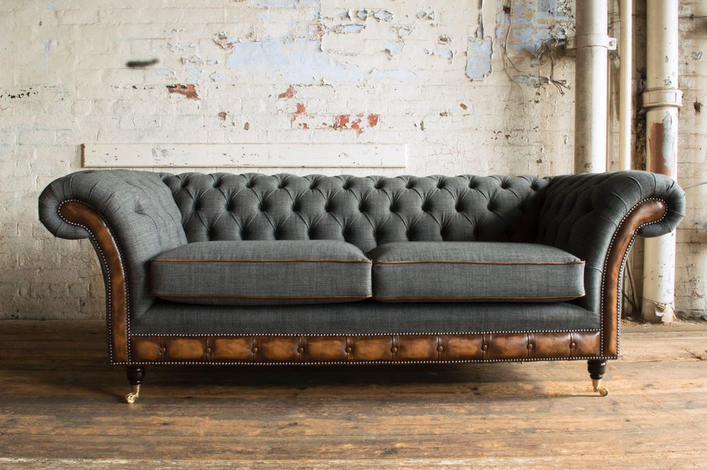Modern Grey Wool Antique Tan Leather 3 Seater Chesterfield Sofa Couch Ebay
