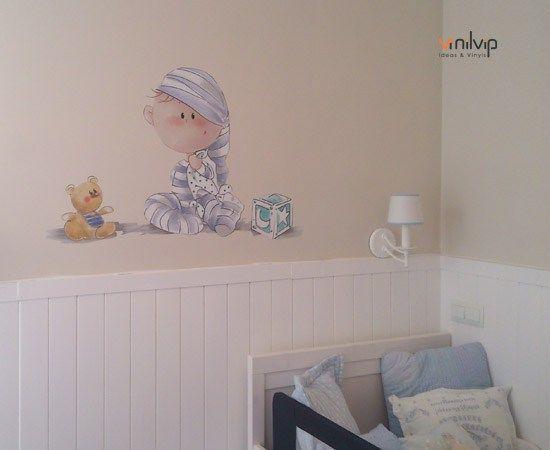 Vinilo habitacion bebe color pastel vinilos infantiles for Decoracion habitacion compartida nino nina
