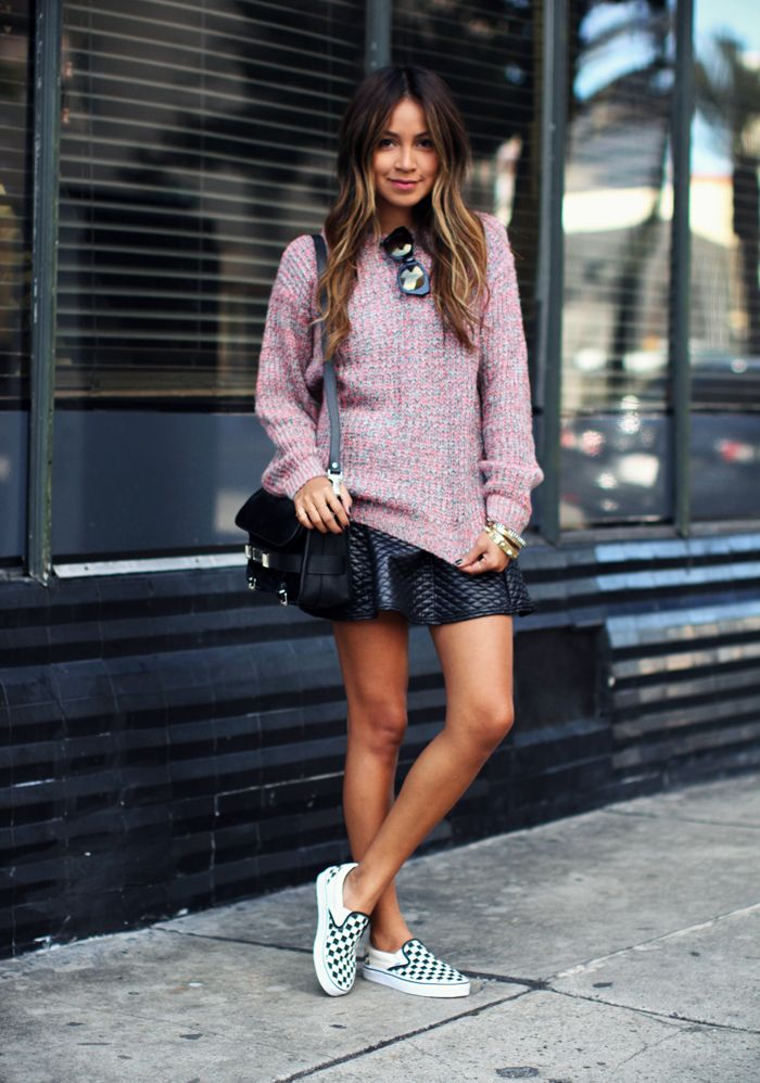 30 Stylish Outfits To Wear With Sneakers | Skirt, sneakers