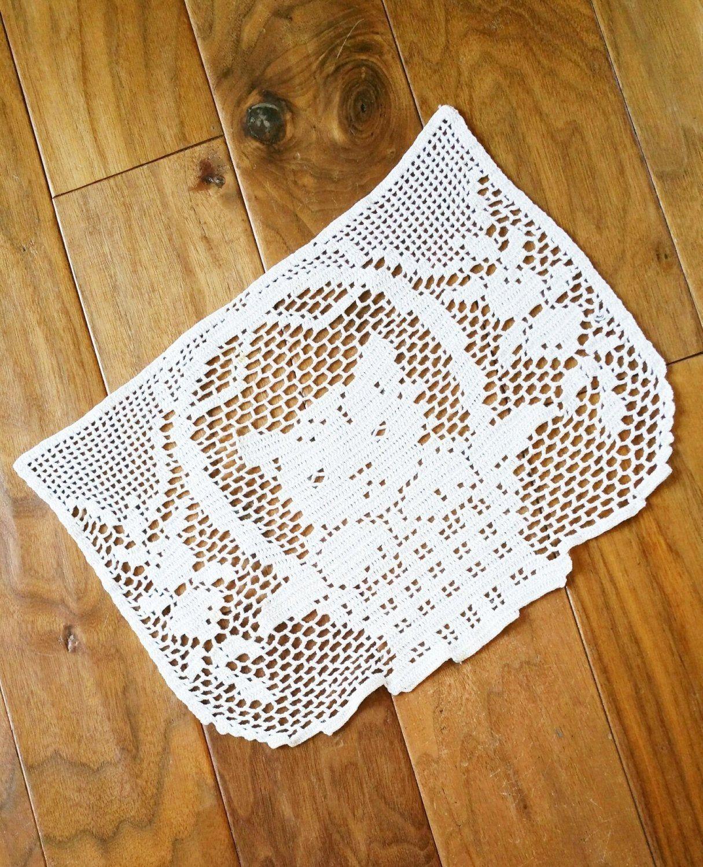 Vintage Cottage Home Heirloom White Kitten Table Scarf, Olives and Doves #whitekittens