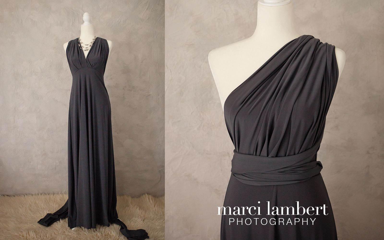 Dark gray convertible dress can fit from xs to xl with