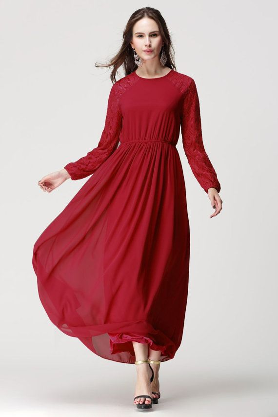 30+ Red long sleeve maxi dress ideas ideas