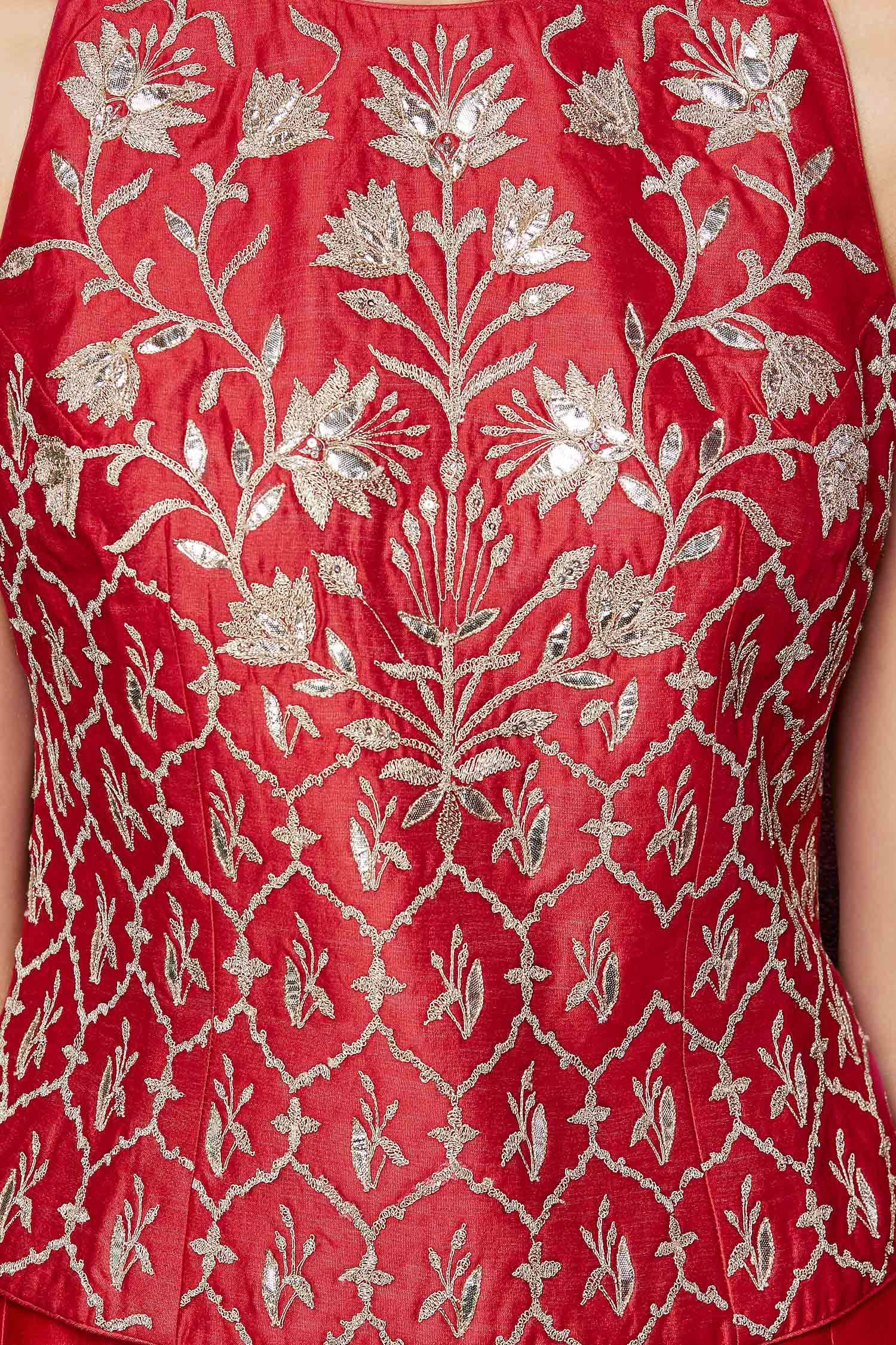 Embroidered red crop top and red sharara gota style pinterest