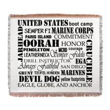 Devil Dogs and Jarheads, Marine Corps phrases, nicknames, OORAH all on a throw blanket