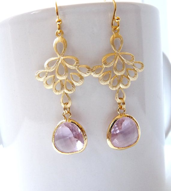 Teardrop Glass Chandelier Earrings  Christmas by Suryaboutique, $22.99