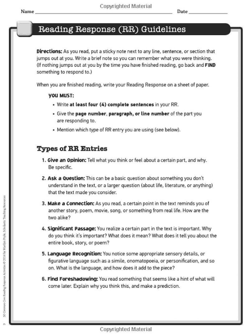 Character Education Worksheets Middle School 5 Reading Response Activities  to Invite H… in 2020   Reading response [ 1074 x 800 Pixel ]