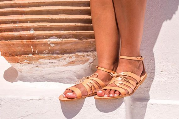 aaa72fff3334b Mustard leather slides Greek leather sandals women Slip on | Etsy ...