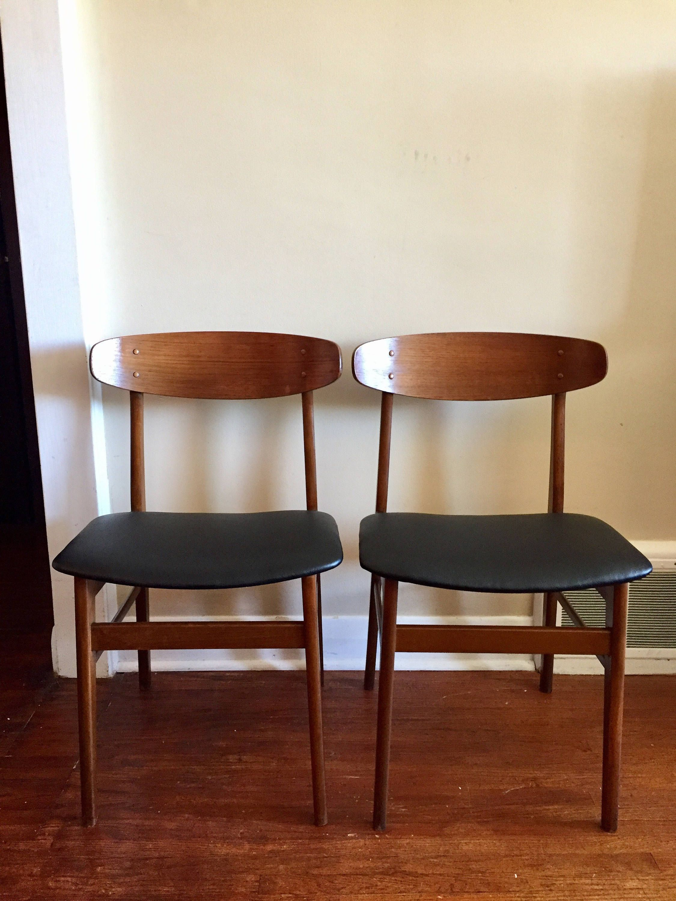 Mid Century Modern Danish Teak Dining Chairs By Sax A Pair Of