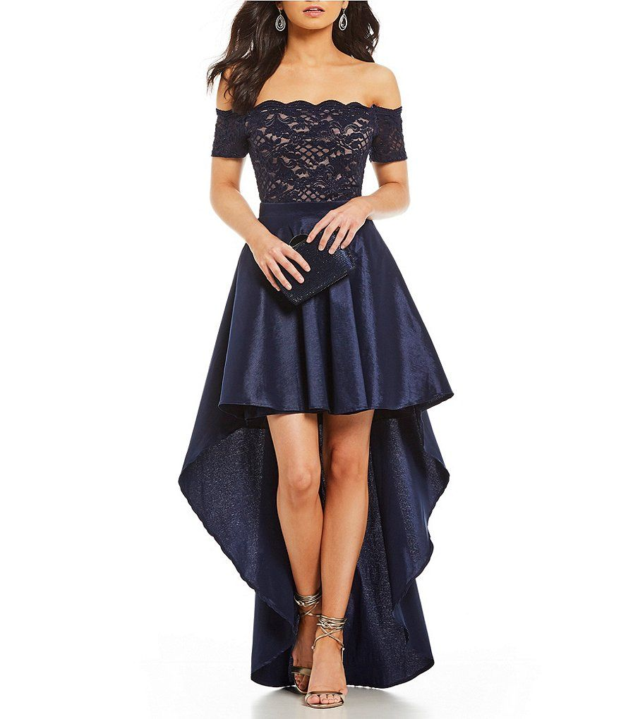 cd885833335 Jodi Kristopher Scalloped Off-The-Shoulder Long High-Low Dress in ...