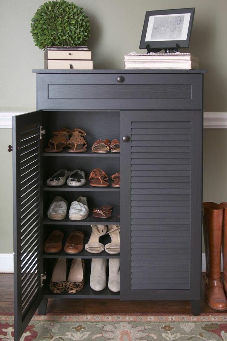 Meuble Rangement Chaussures Entree meuble d'entrée avec portes persiennes | stockage d'entrée