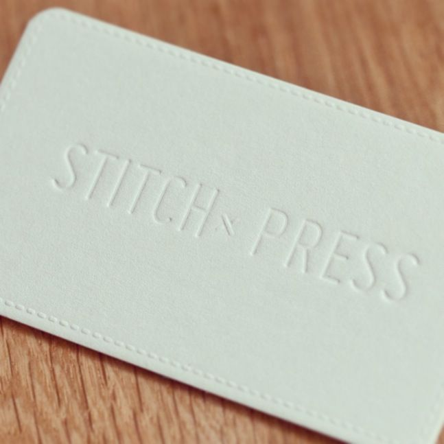 Stitch press business card letterpress embossing loves design stitch press business card letterpress embossing colourmoves