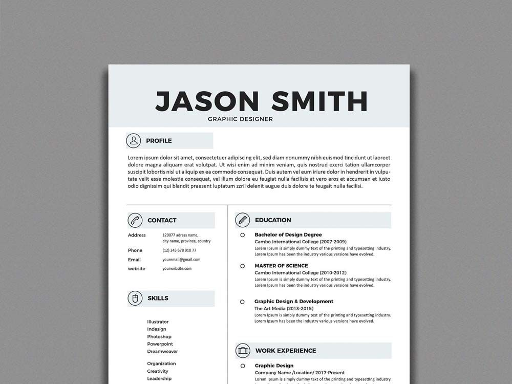 Illustrator Resume Templates Free Simple Resume Template In Illustrator Format  Free Resume